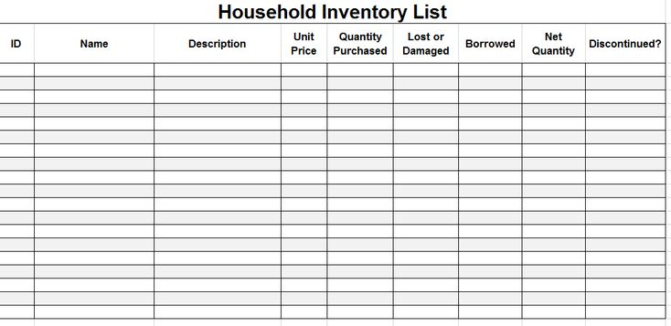 Household Inventory List Template Templates Pinterest - household inventory list template