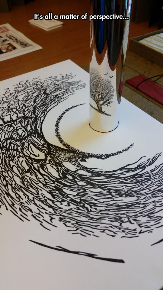 Perspective Art At Its Best. That's a steel reflective cylinder, incase you missed it at first like me.