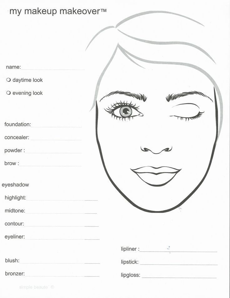 91 best Face charts images on Pinterest Makeup face charts, Eye - blank face template printable