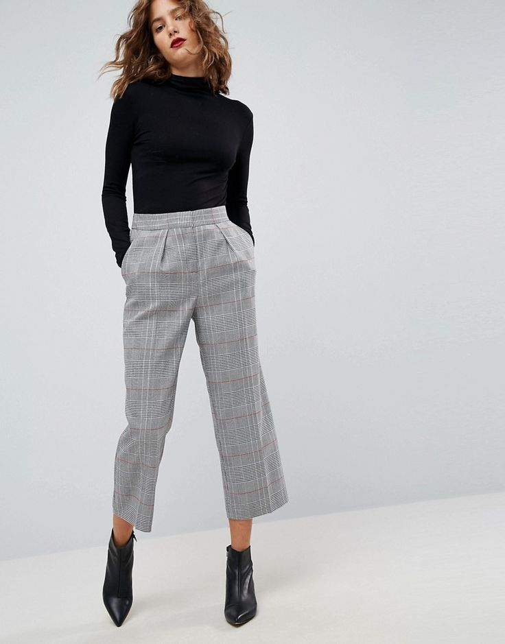 Shop ASOS Tailored Mansy Tapered Trouser in Check at ASOS.