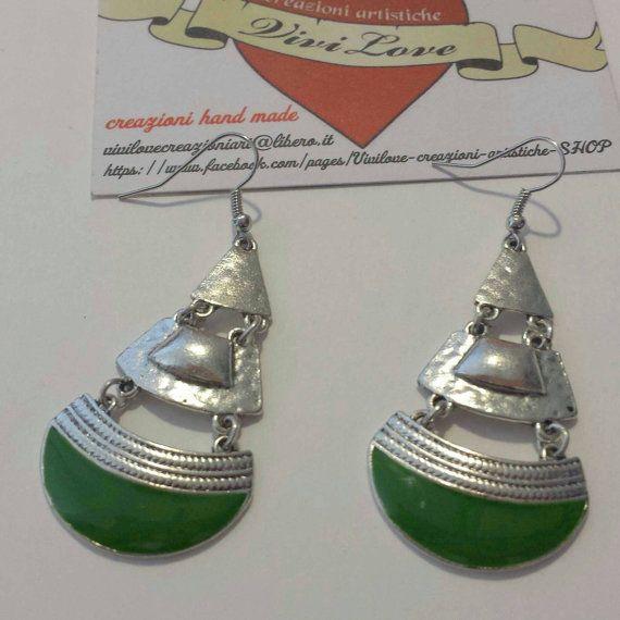 Guarda questo articolo nel mio negozio Etsy https://www.etsy.com/it/listing/270626641/orecchini-argento-e-verde-smaltato