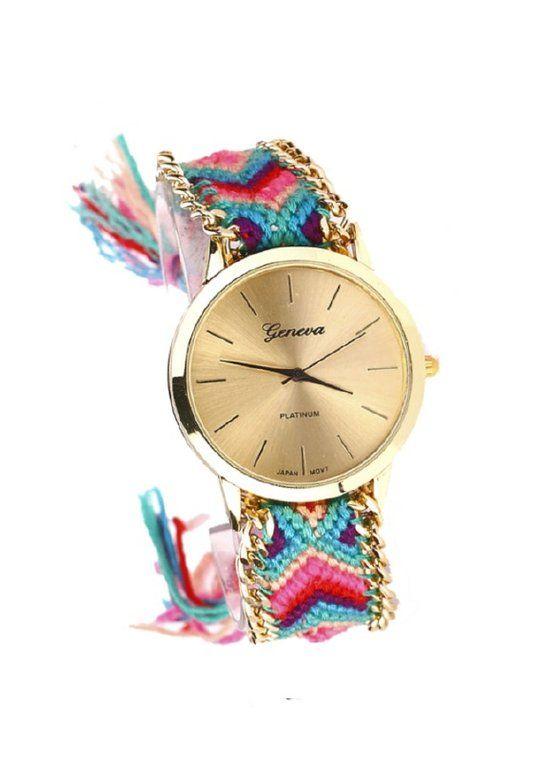 Geneva Ibiza Horloge Geknoopt - Pretty Pink