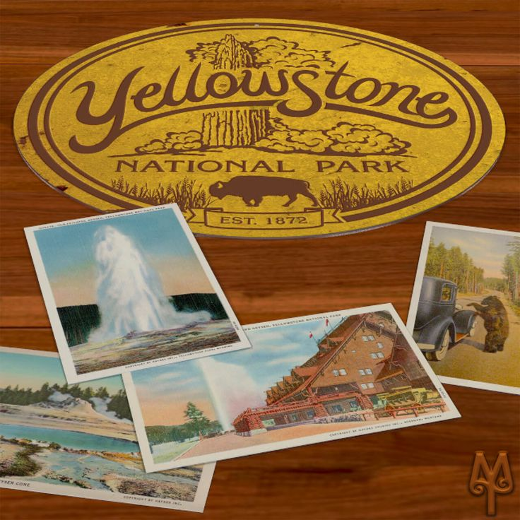 Add this vintage, decorative, metal wall sign to your home or cabin; and, show everyone that you have loved Yellowstone National Park for a very long time.  A decorative wall sign measuring 14 inches in diameter. Made using heavy gauge American steel and a process known as sublimation, where the image is baked into a powder coating for a durable and long lasting finish.  one 3/16 inch top mounting hole  Designed in Montana. Made in the USA.