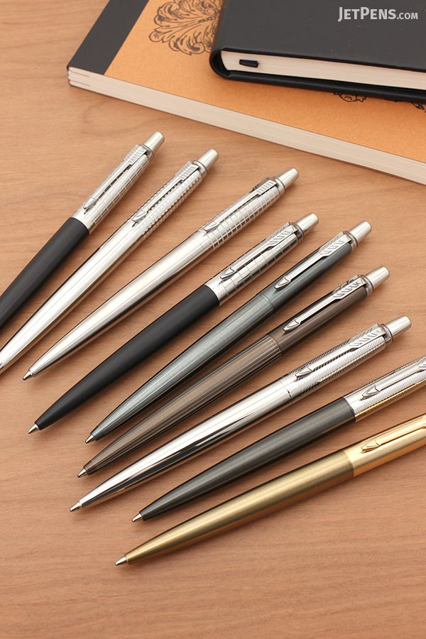 The freshly updated Parker Jotter Premium Ballpoint Pens have sophisticated features like subtle pinstriping, gold trim, and etched bodies. Seven new styles are available.
