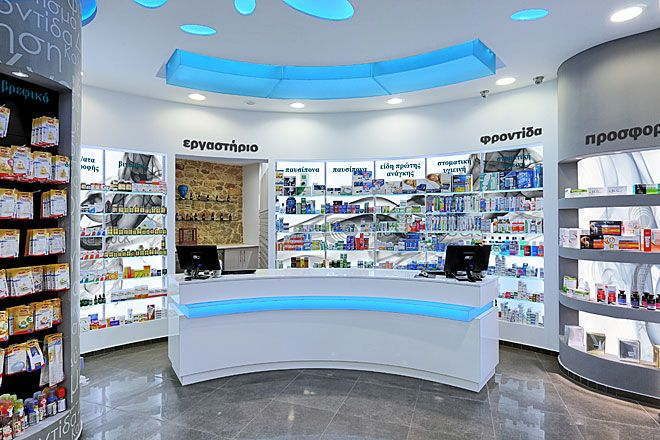 Tsikandilakis.NET, Decoration study, construction, pharmacy design and equipment in the center of Heraklion in Crete, owned by Tzorakoleftherakis