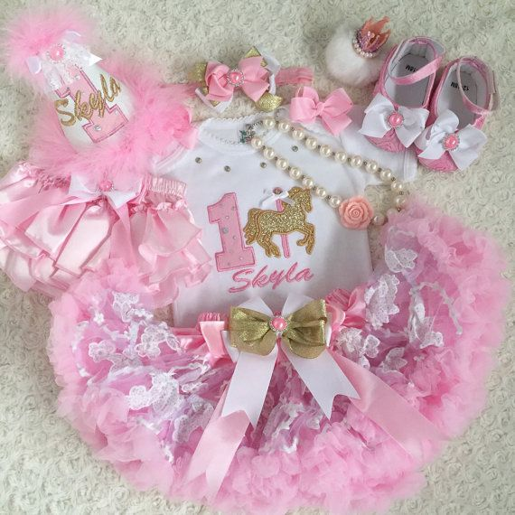 6-pc set Carousel horse Birthday outfit- include top, super fluffy light pink…