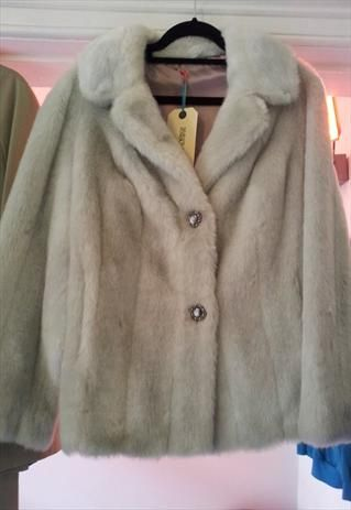 immaculate white/light grey faux fur jacket  £60