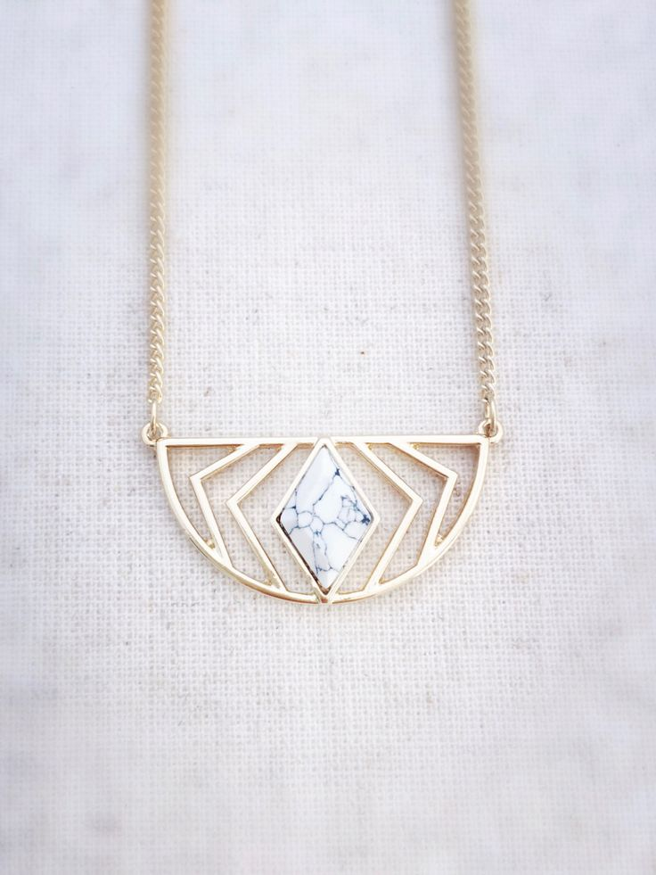 White Marble Gold Geometric Necklace