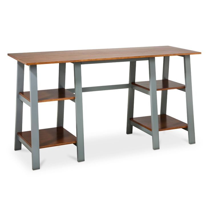 The Threshold Double Trestle Desk In Midtone And Gray Is A Crisp, Modern  Solution For Your Home Office Needs. This Savvy Computer Desk Is Made Of  Hardwood ...