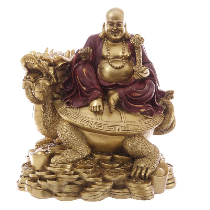 Large Red and Gold Chinese Buddha on Dragon with Coins  Large lucky Buddha, sitting on top of a dragon and surrounded by coins. Made from resin and painted in opulent shades of red and gold.   Dimensions: Height 22cm Width 20cm Depth 17cm