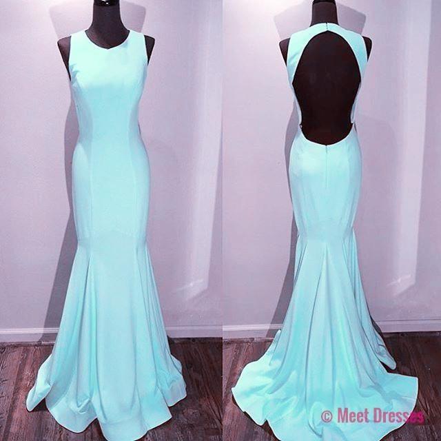 New Arrival Prom Dress,Modest Prom Dress,light blue satin backless mermaid prom dresses 2018 PD20188006