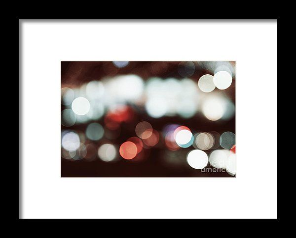 City Traffic Lights Background With Blurred Lights Framed Print