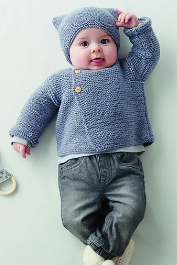 Free Knitting Pattern for Garter Stitch Baby Cardigan and ...