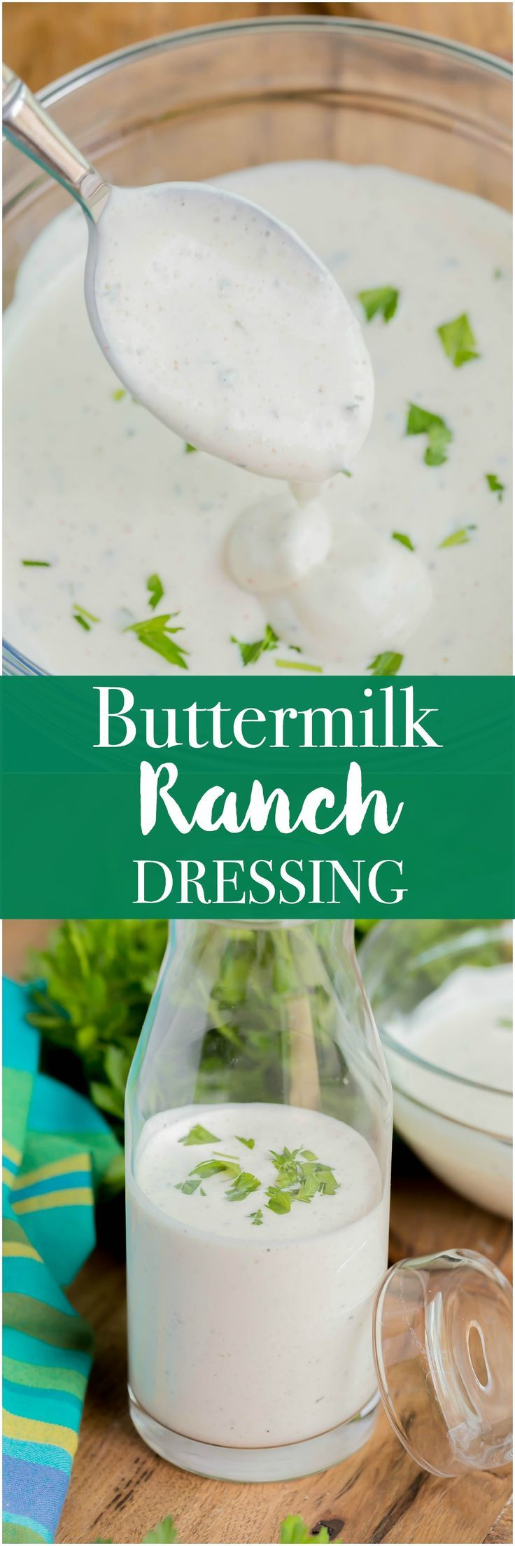 Homemade Buttermilk Ranch - is thick, rich, and creamy. Perfect for dipping or salads! #Ranch #homemadedressing #dressing