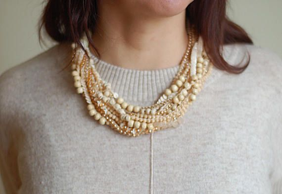 Nude necklace Beige necklace Crocheted necklace Multistrand