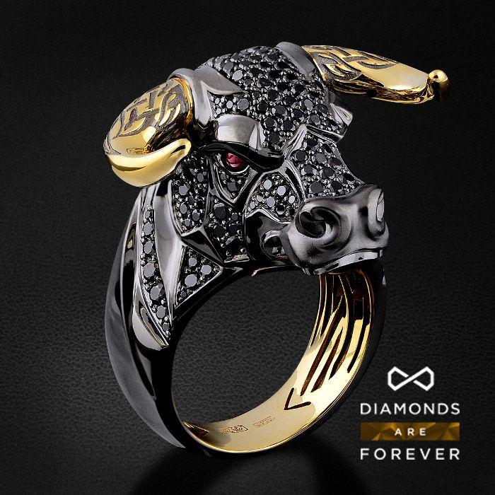 Мужское кольцо Бык с рубинами и черными бриллиантами в желтом золоте 750 пробы (арт. 29854)