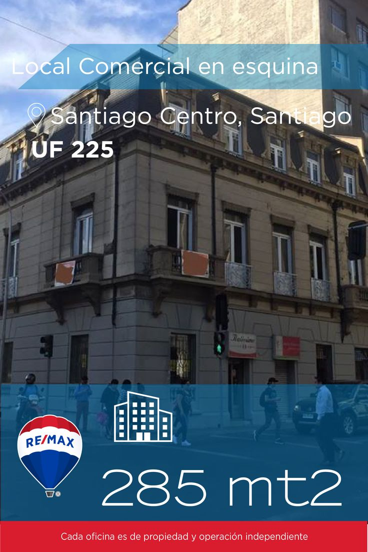 [#local #comercial en #Arriendo] - #Local Comercial en esquina Stgo.Centro : 285 mts2  http://www.remax.cl/1028036014-45  #propiedades #inmuebles #bienesraices #inmobiliaria #agenteinmobiliario #exclusividad #asesores #construcción #vivienda #realestate #invertir #REMAX #Broker #inversionistas #arquitectos #venta #arriendo #casa #departamento #oficina #chile