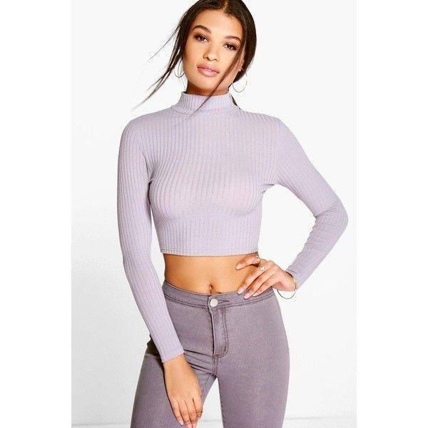 Boohoo Sara Soft Rib Knit Crop Jumper ($14) ❤ liked on Polyvore featuring tops, sweaters, silver, jumpers sweaters, ribbed knit sweater, lightweight sweaters, layered tops and crop top