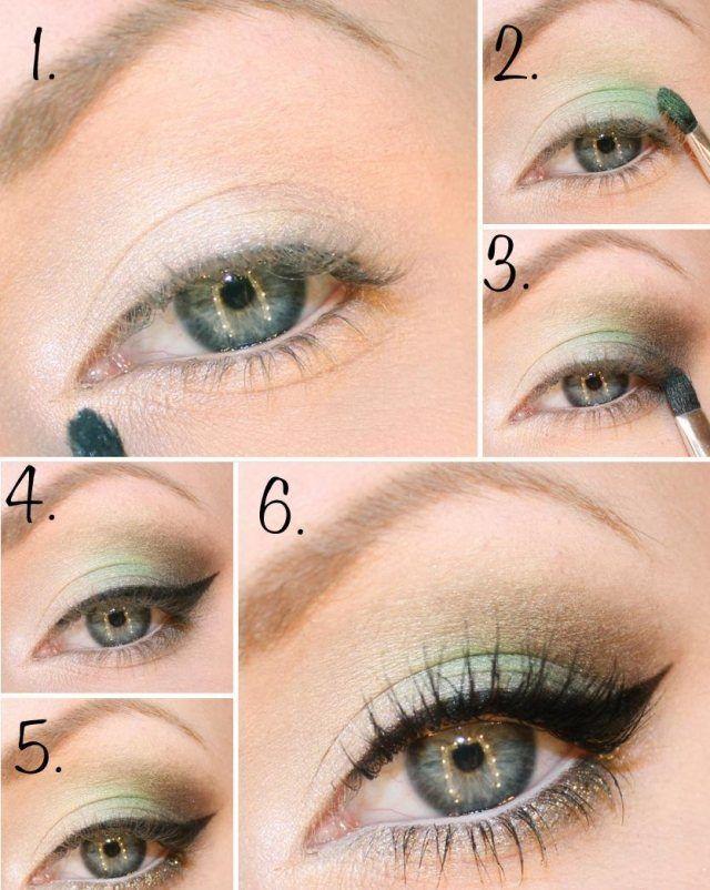 maquillage des yeux en vert clair, mascara et trait d'eye-liner épais