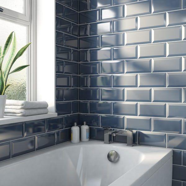 Metro Midnight Blue Bevelled Gloss Wall Tile 100mm X 200mm Blue Bathroom Tile Brick Tiles Bathroom Blue Subway Tile