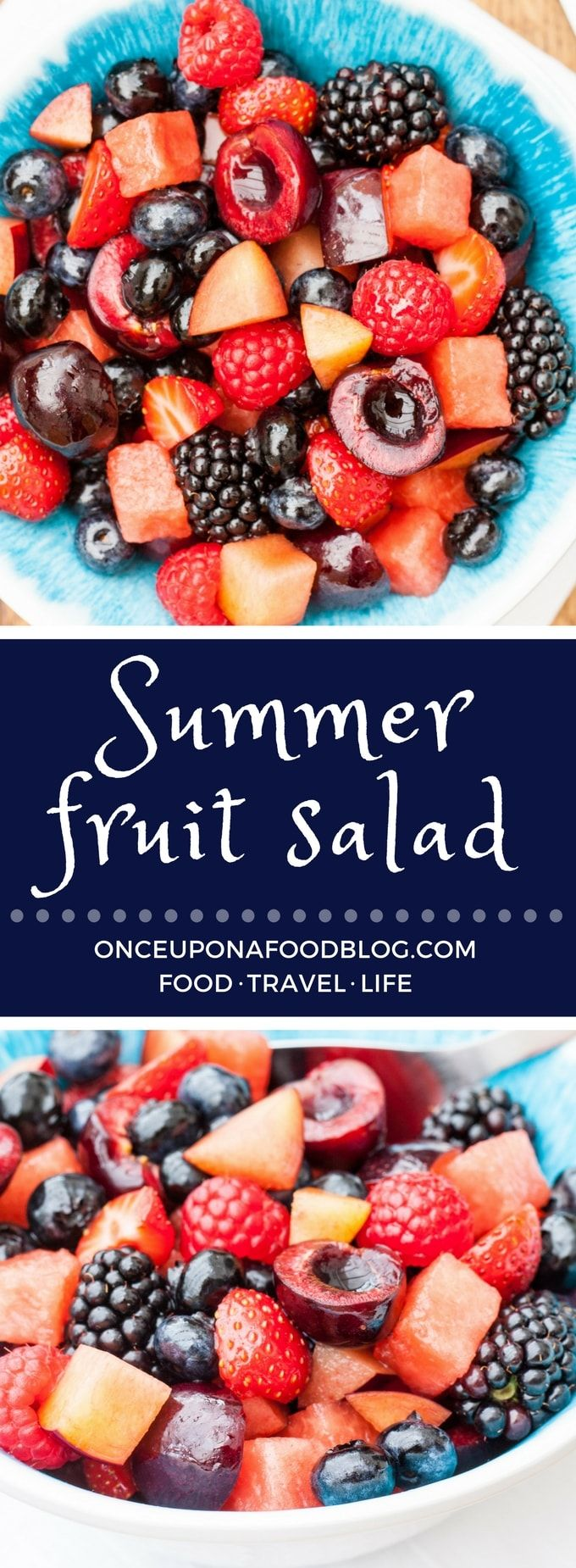 A gorgeous fruit salad, that tastes of the summer, served with a choice of dressings.