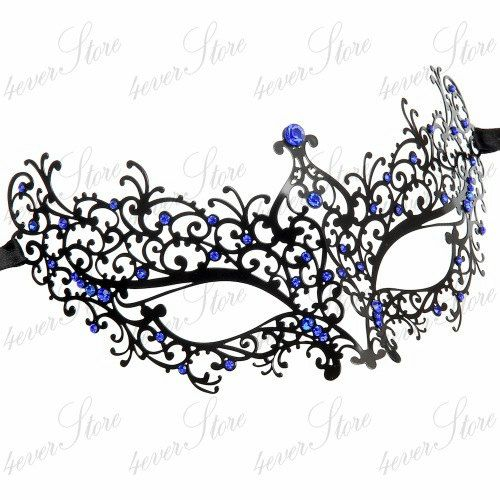 New Gorgeous Princess Black Metal Lace Masquerade Mask with Royal Blue Diamonds - Halloween Costume, Prom, Holiday Gift Idea on Etsy, $29.95