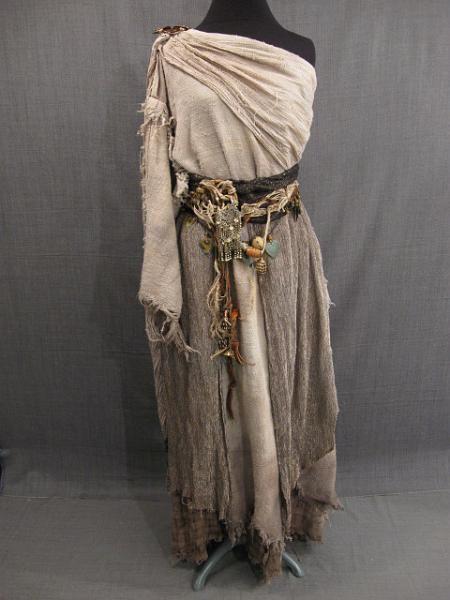 09008962 Dress Greek-Ethnic Distressed, beige black metallic cotton silk, trinket belt, B36 W29 H38.JPG