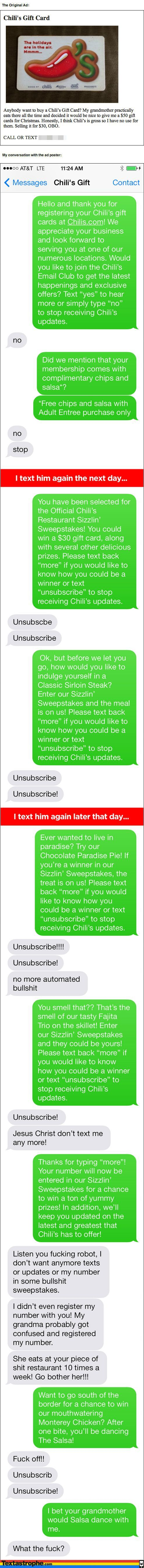Dude Fake Texts Chili's Gift Card Recipient In A Hilarious Prank Almost Too…