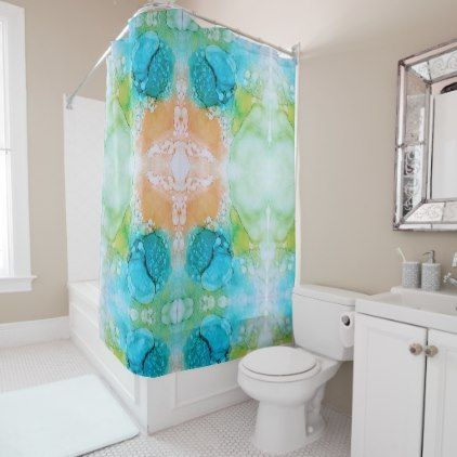 Reason abstracted in orange green blue shower curtain - modern gifts cyo gift ideas personalize