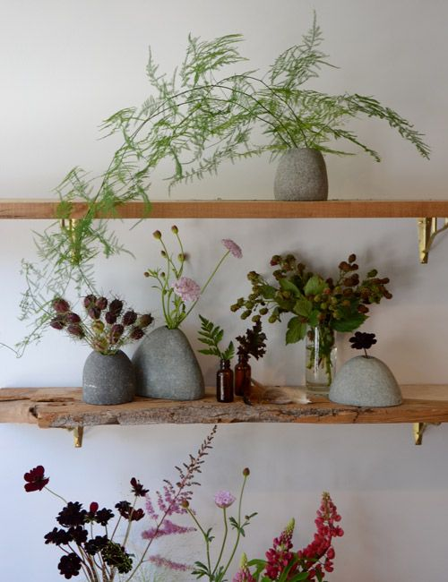 Open shelves can hold simple green cutting from our garden, c.a.p.