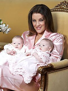 Lisa Marie Presley and twins with 4th husband, Michael Lockwood. Twin daughters…