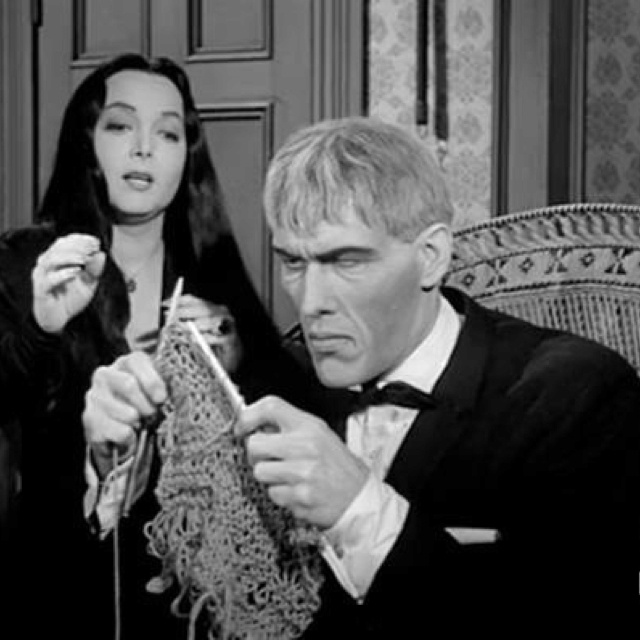 """Knit one, purl two, Lurch"" Poor Lurch, he's clueless, gotta love him."