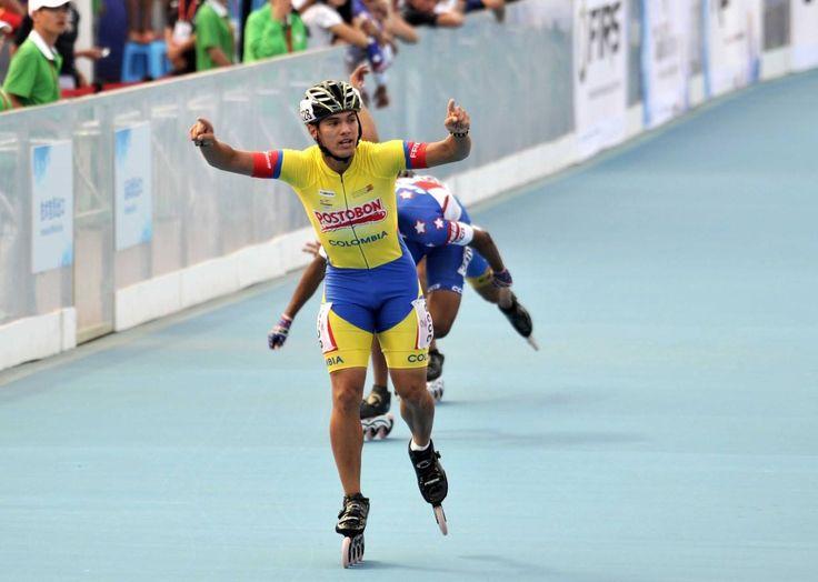 Jaime Uribe, campeón mundial de patinaje en 500 metros juveniles, el 13 de septiembre en China.