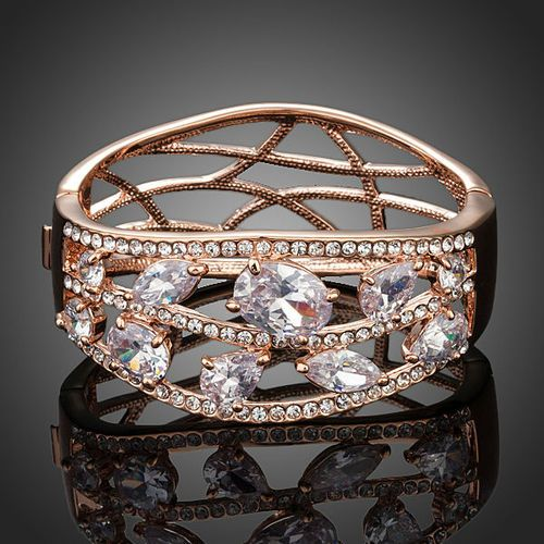 Rose Gold Color Clear Cubic Zirconia Cuff Bangle Bracelet