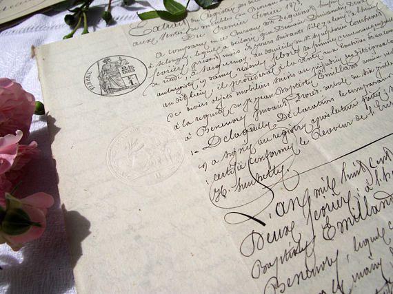 Beau document manuscrit Français authentique, huissier de justice rapport/act, côtés de 13 pages, année 1873, vieux papier, juridique, calligraphie, timbres.
