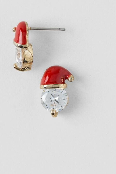 Cubic Zirconia Santa Hat Stud Earrings