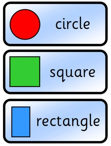 Simple colourful flashcards showing common 2D and 3D shapes