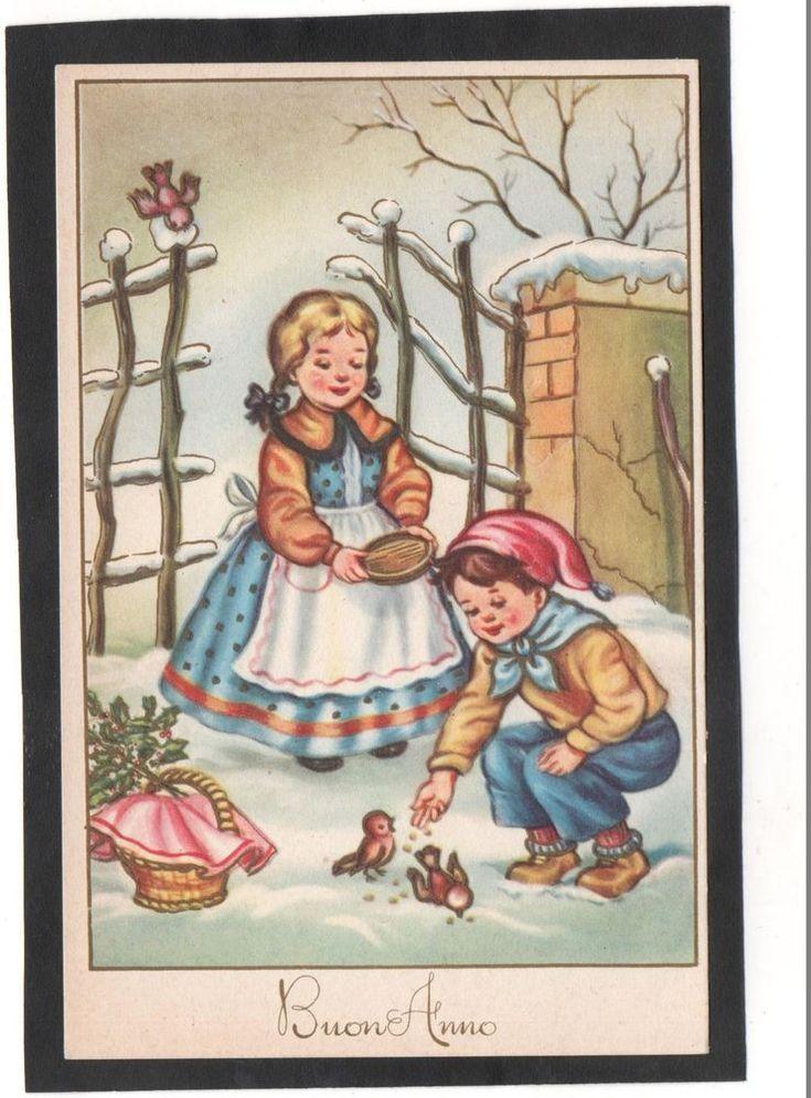 Cartolina Buon Anno Bambini sfamano uccelli PMCE 452/3 YG115