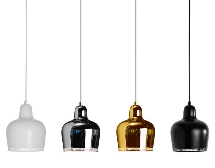 Pendant Lamp A330s Golden Bell - hivemodern.com - in brass x 2 for over island? Then something else in white (not brass) over the DR table. This pendant also comes in a mud colour with a red cord, which could be very interesting too.