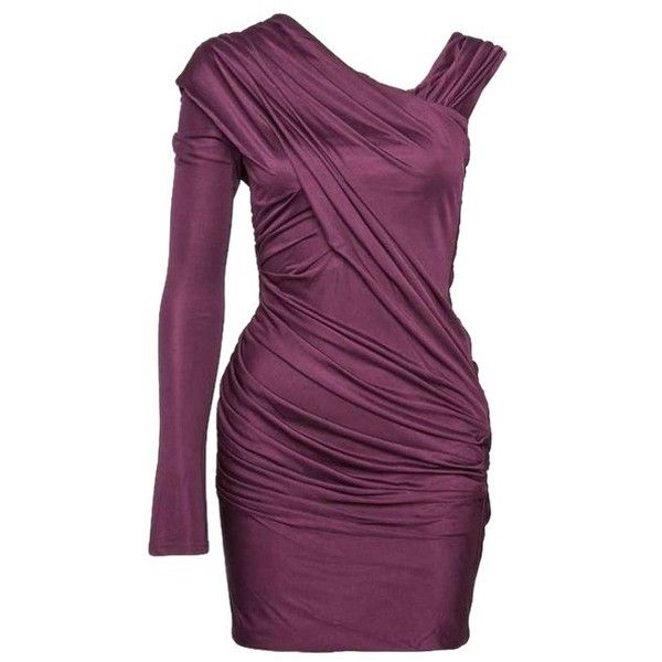 Alexander Wang One Sleeve Ruched Mini Dress ❤ liked on Polyvore featuring dresses, short dresses, one shoulder mini dress, purple ruched dress, purple dress and one shoulder dress