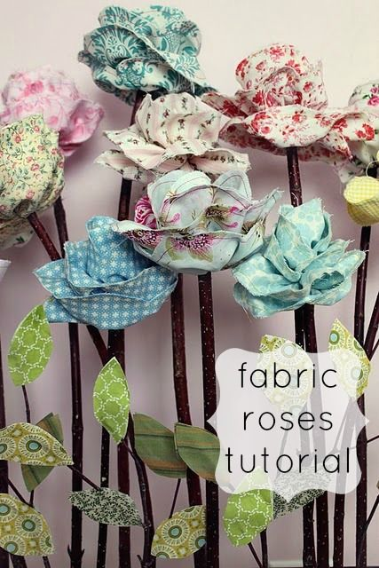 Fabric roses tutorial.  Gloucestershire Resource Centre http://www.grcltd.org/scrapstore/