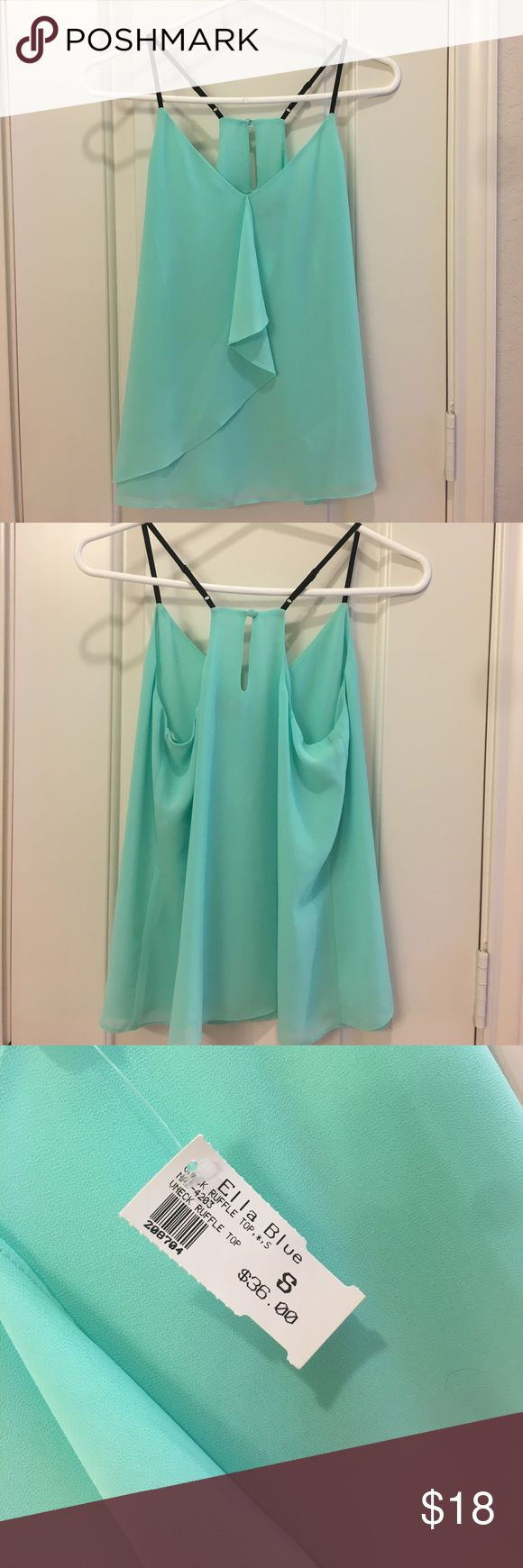 NEW mint blouse tank Mint, Black straps Ella Blue Tops Blouses
