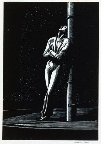 Rockwell Kent, Man At Mast, 1929 Wood engraving 6 1/2 x 10 1/8 inches