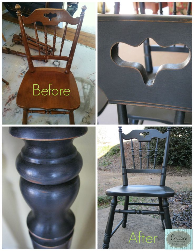 Before and after of dining chairs transformed from maple for Is chalk paint durable for kitchen table