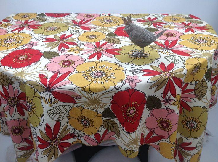 Large Spring Teasdale Blossom Floral Print Custom Tablecloth Shell  U0027Crochetu0027 Edging