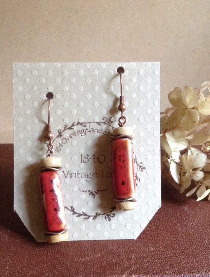Fall Earrings...Reddish Ceramic Square Tube Bead Earring...Handmade by 1840VintageLnJewelry on Etsy