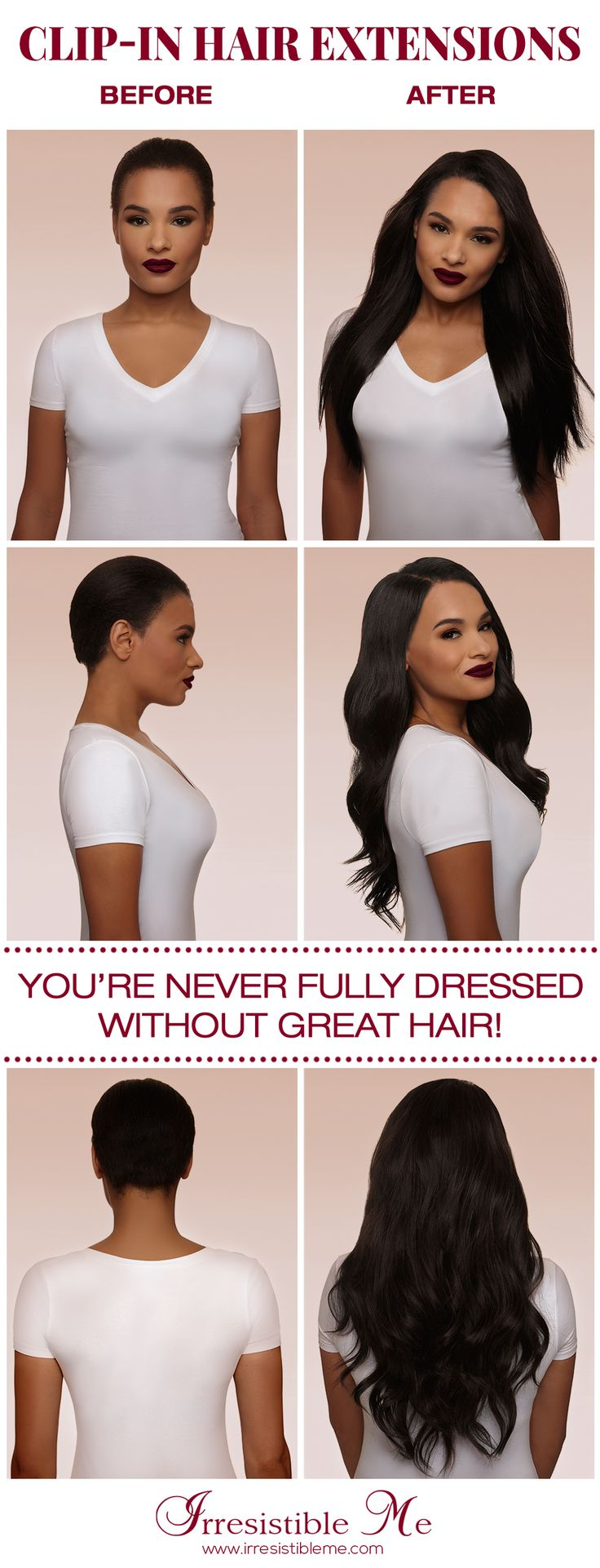 Get long hair in less than 5 minutes with  Irresistible Me 100% human Remy clip-in hair extensions. The before and after change is totally awesome and nobody will know you're wearing hair extensions. Can be cut, dyed and heat styled. Worldwide delivery, free exchanges and returns. Click for more colors and lengths. Perfect for brides too. Enjoy 20% off on first order!