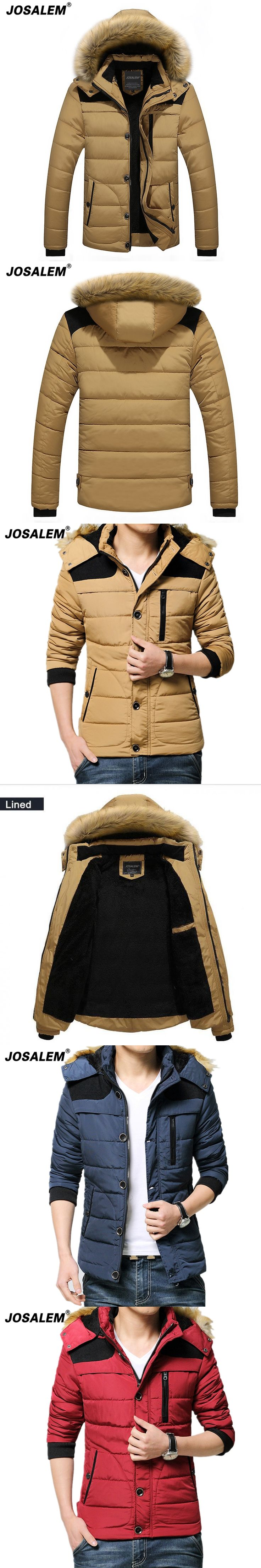 Black  Parka Men 2017 Winter Jacket Man Fashion Design Fur Removable Hooded Thick Warm Zipper Cotton Padded Coat Male Outerwear