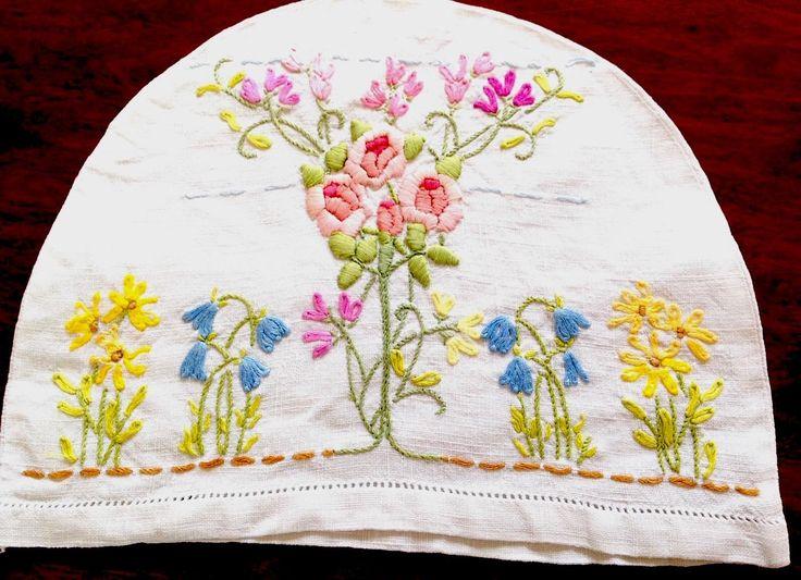 Винтажный вышитый вручную маленький белый льняной цветы чай уютный чехол   eBay