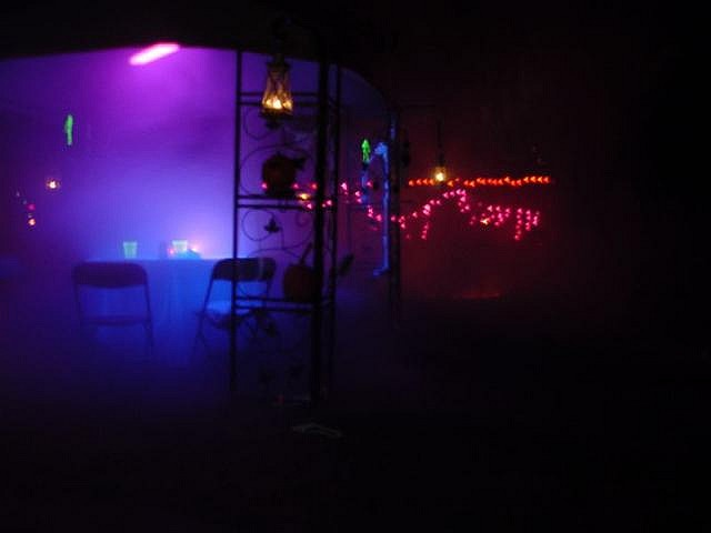 fog machine black light spooky atmosphere for a glow in the dark halloween party